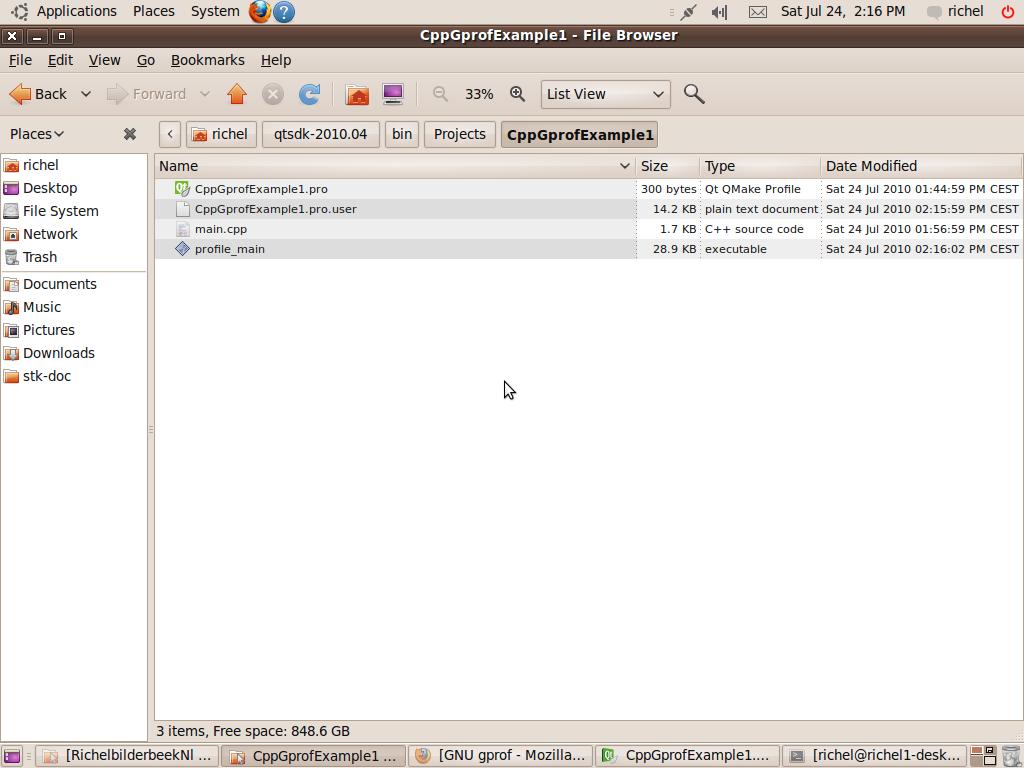 Qt Creator gprof example 1: profiling a simple console