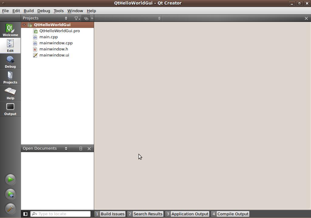 Qt Creator: How to create a windowed 'Hello World' program