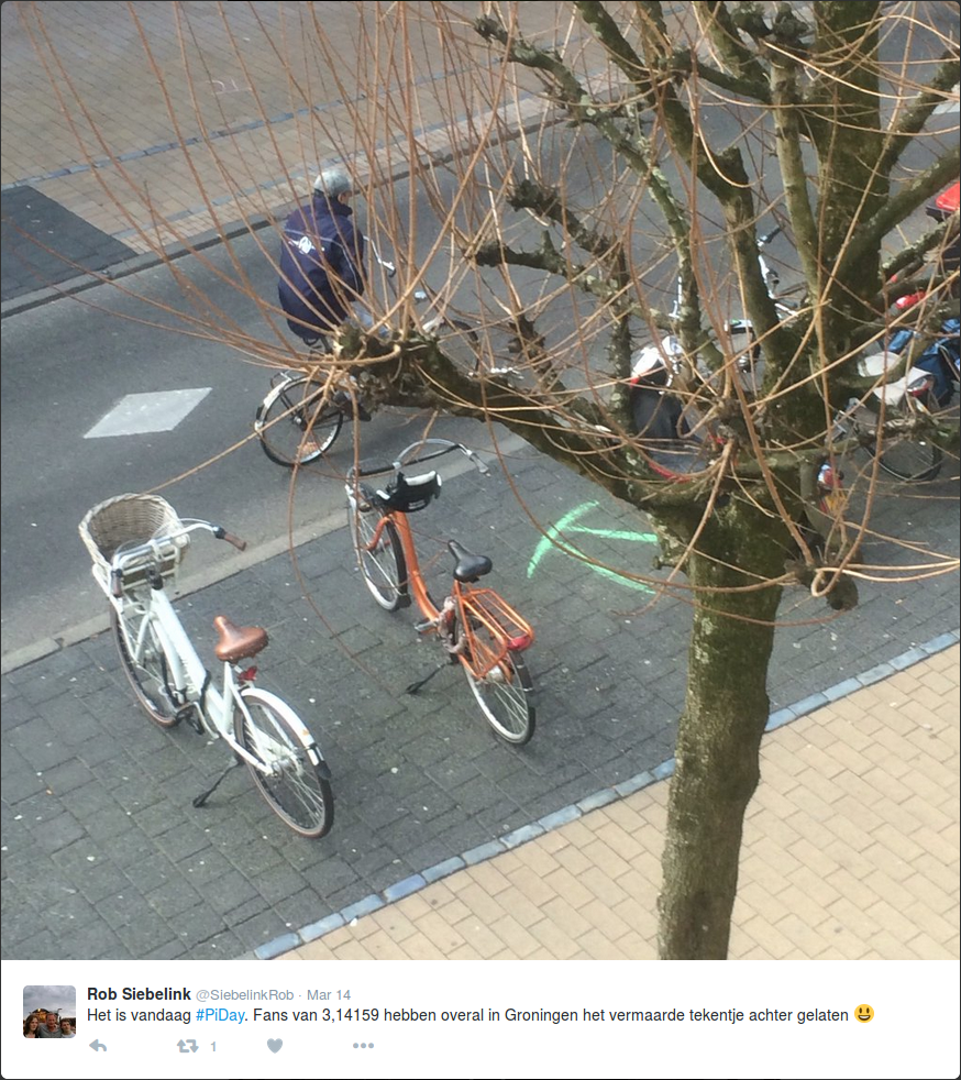 Pi Day 2016: Pi with streetchalk in Groningen 2
